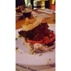 On a Dubbel paired with Beef Short Rib, Mushroom Risotto, Oven Roasted Tomato, Ciopolini Onion Rings, Gremolatta